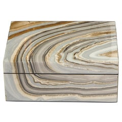 Modernist Marbled Lacquer Volumetric Square Box with Felt Interior