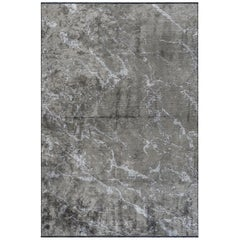 Modernist Medium Gray Abstract Marble Pattern Luxury Soft Semi-Plush Rug