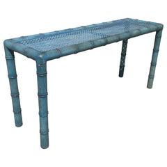 Modernist Midcentury Faux Bamboo Console Table James Mont Robins Egg Blue