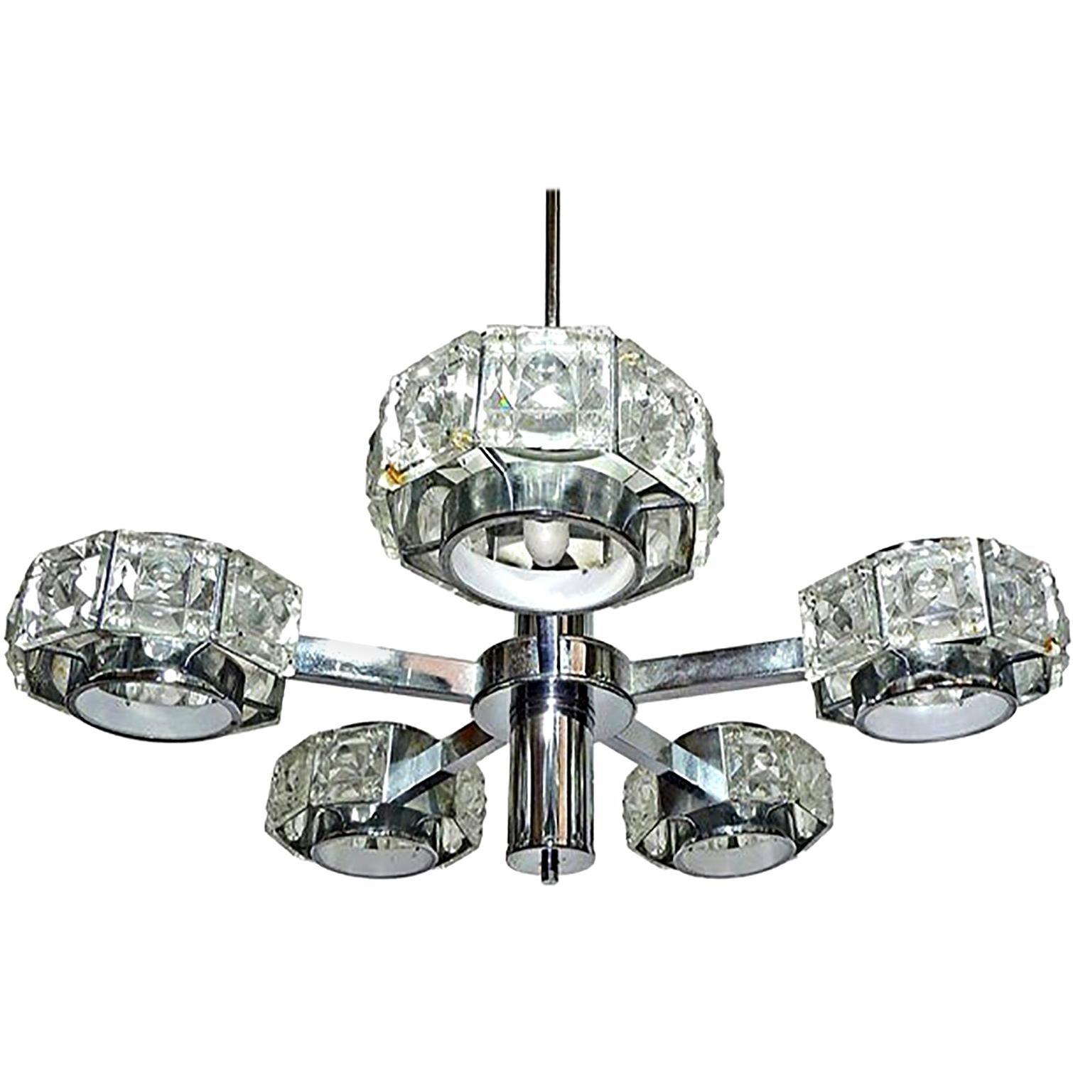 Modernist Midcentury Gaetano Sciolari Crystal and Chrome Sculptural Chandelier