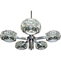 Modernist Midcentury Gaetano Sciolari Crystal and Chrome Sculptural Chandelier