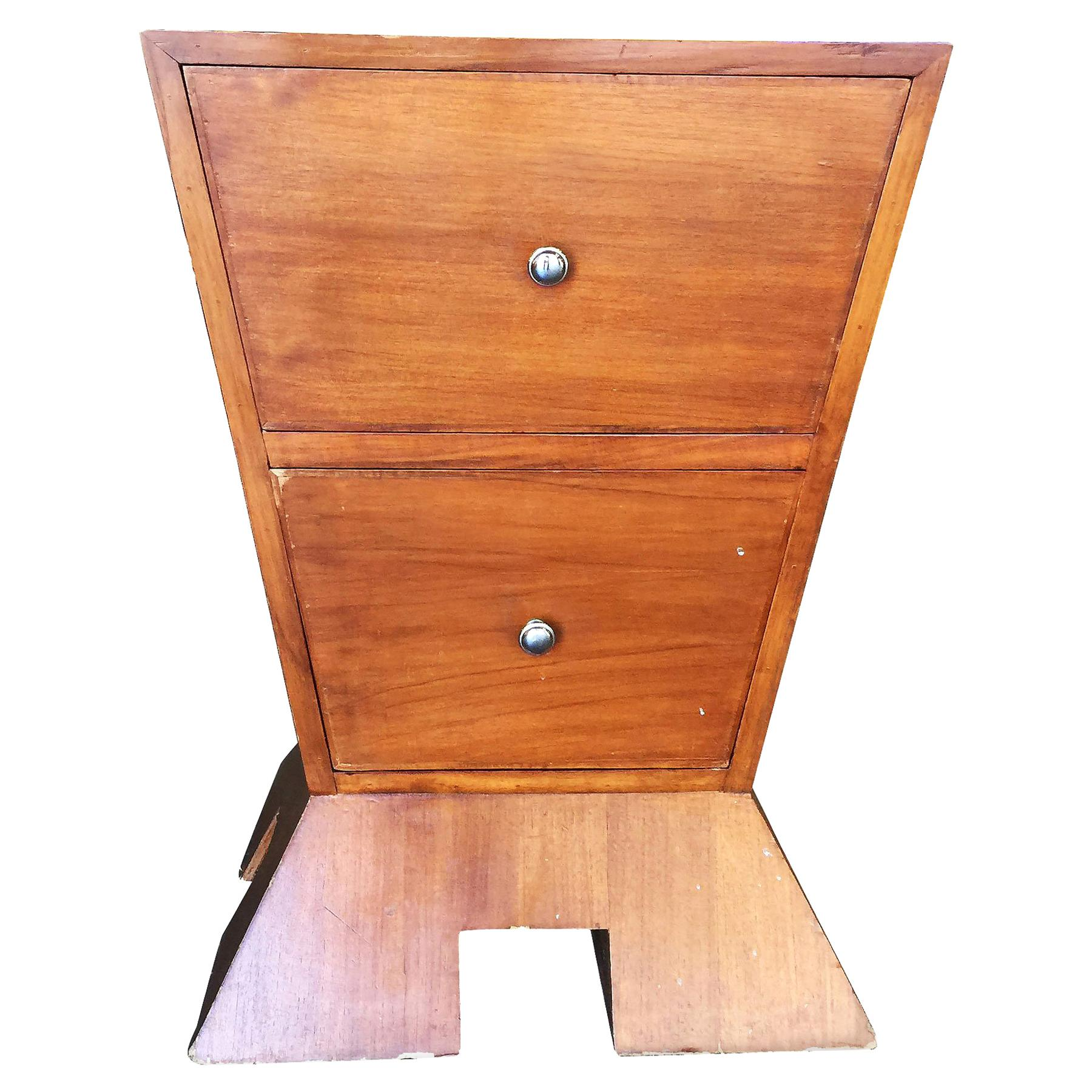Modernist Midcentury Inverted Triangle Bedside Table