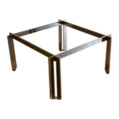 Modernist Midcentury Solid Steel Chrome Finish Square Coffee Table Base