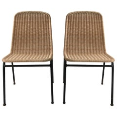 Modernist Midcentury Wicker and Iron Chairs, Set of Two, Austria, 1950s