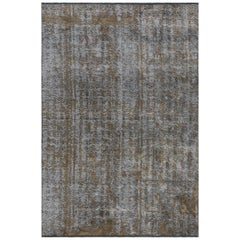 Modernist Mink Brown and Silver Gray Abstract Design Rug with Shine