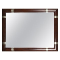 Modernist Mirror with Wood Frame and Silvered Inlaid Patterns