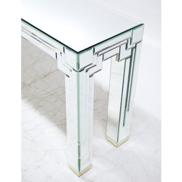 Late 20th Century Modernist Mirrored Console For Sale