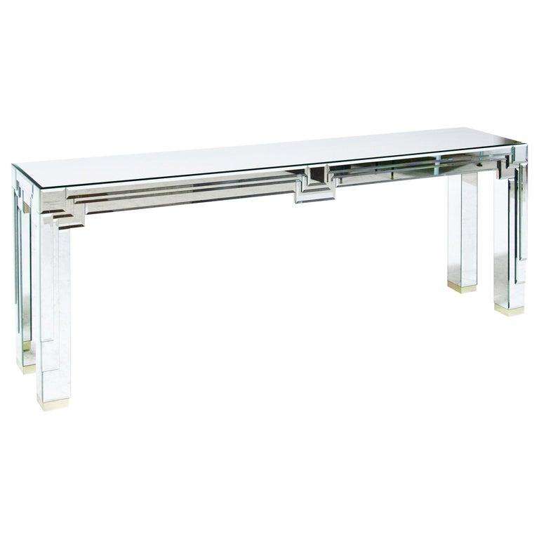 Modernist Mirrored Console For Sale