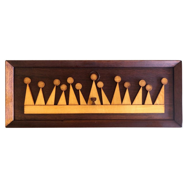 """Modernist Mixed Woods """"Last Supper"""" Plaque / Wall Sculpture For Sale"""
