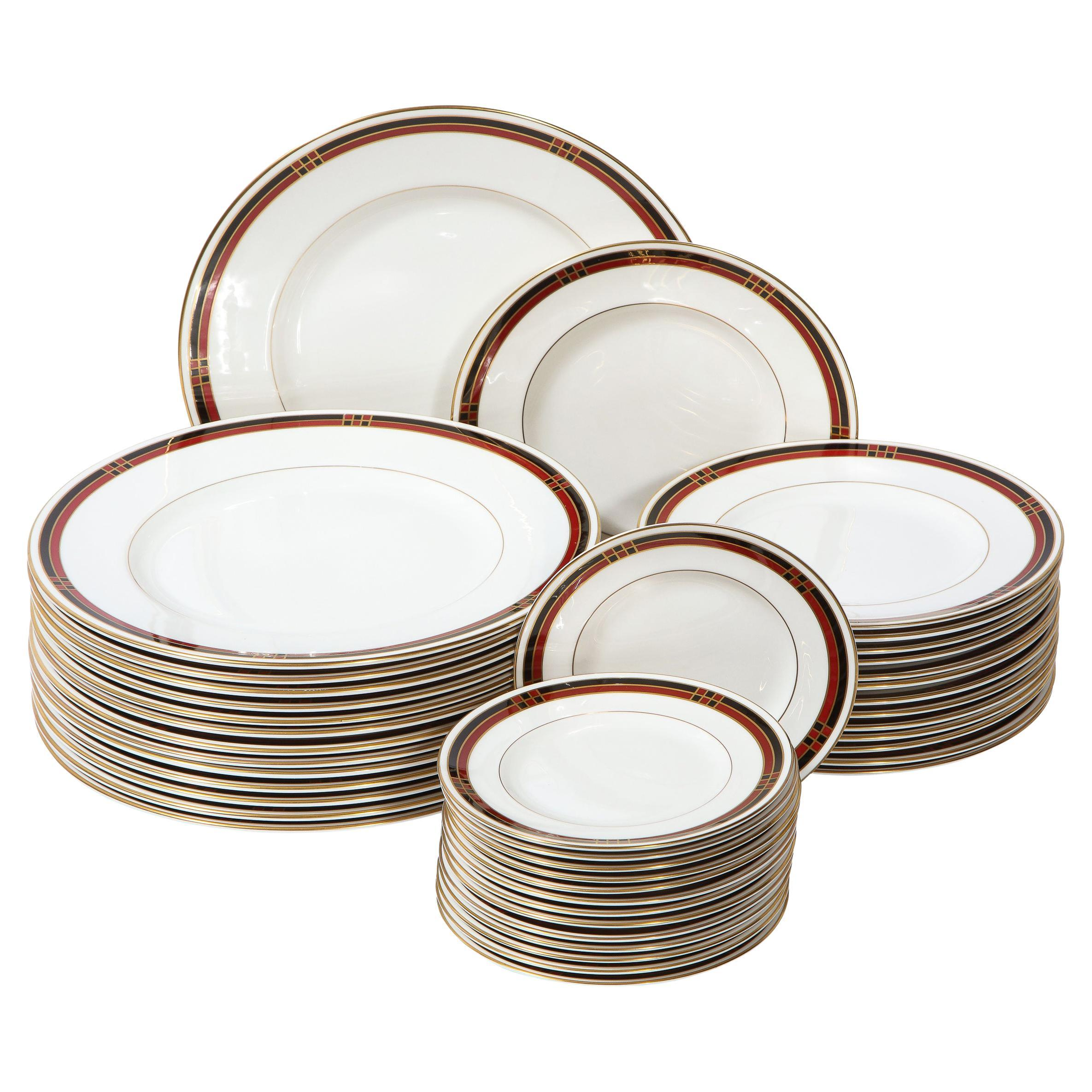 """Modernist """"Mondrian"""" Pattern Service for 14 Fine China Plates by Royal Worcester"""