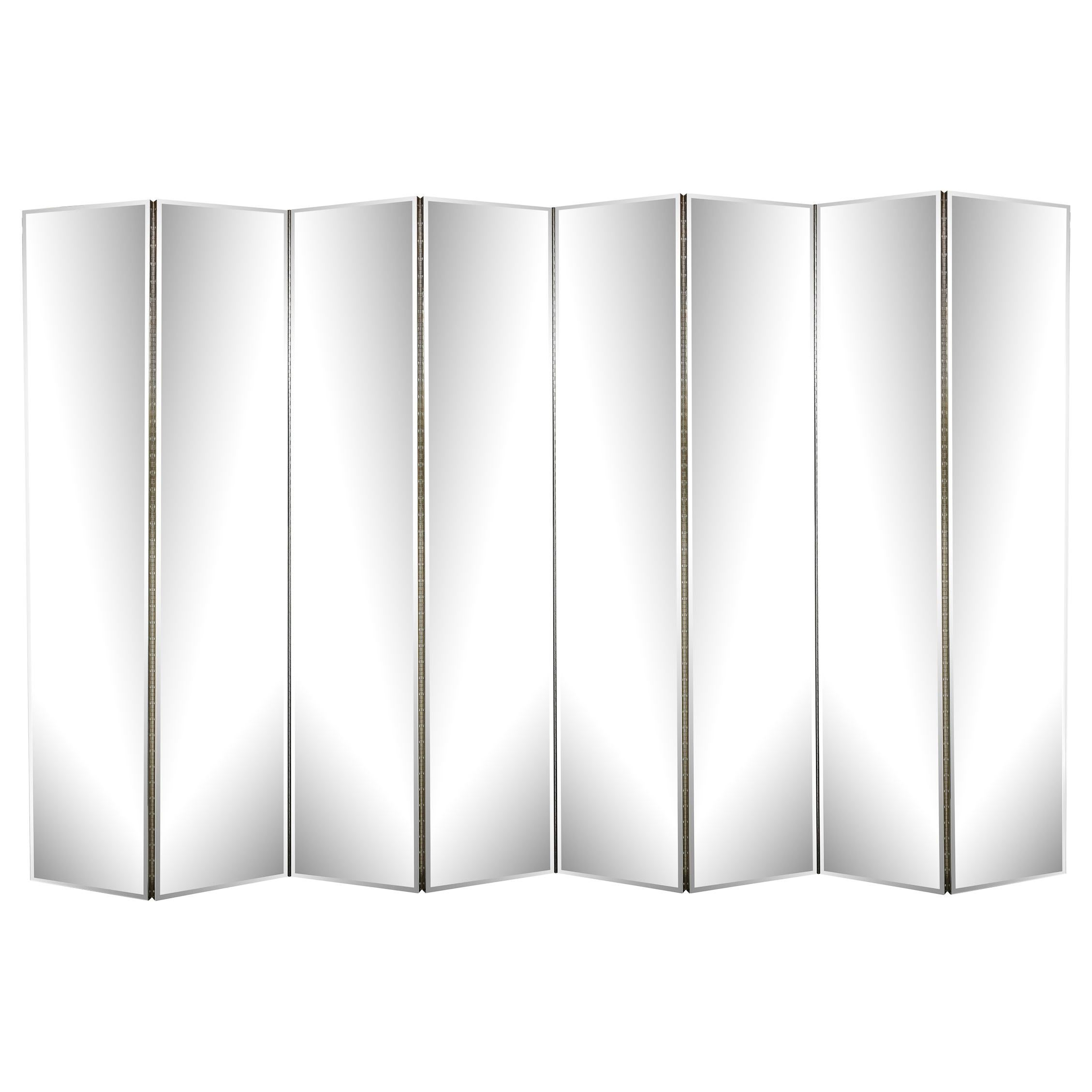 Modernist Monumental Eight Panel Mirrored Screen with Bronze Hued Back