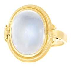 Modernist Moonstone Set Gold Ring