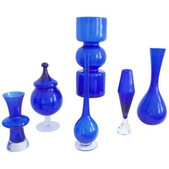 Modernist Murano Empoli and Scandinavian Glass Collection Cobalt Blue, 1960s