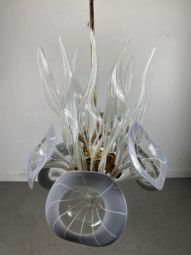 Brass Modernist Murano Glass Chandelier, Trumpet Flower Blown Glass, Italy, 1970s For Sale