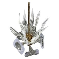 Modernist Murano Glass Chandelier, Trumpet Flower Blown Glass, Italy, 1970s