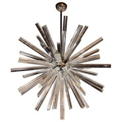 Modernist Murano Glass Triedre Polished Chrome Sputnik Chandelier