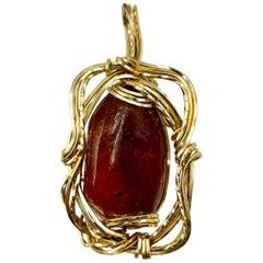 Modernist Natural Amber, 14K Gold Large Pendant Necklace