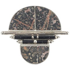 Modernist Naturalistic Stone and Onyx Sterling Silver Brooch
