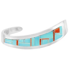 Modernist Navajo Inlaid Stone Sterling Cuff Bracelet