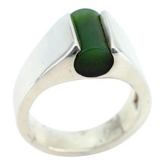 Modernist Nephrite Jade Ring in Silver