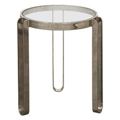 Modernist Nickel and Glass Table