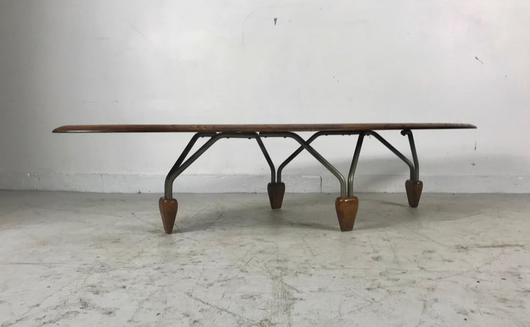 Modernist Oak and Aluminum Surfboard Coffee/Cocktail Table, John Keal Attributed For Sale 5