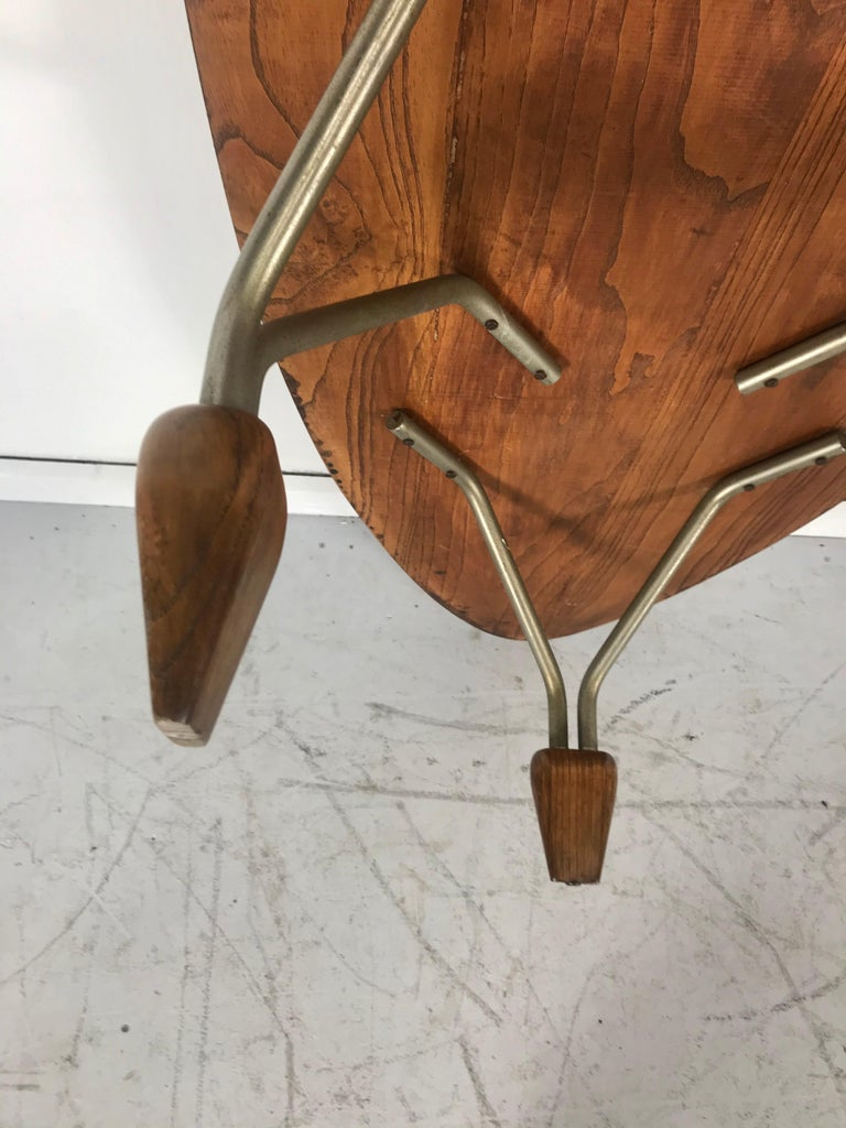 Modernist Oak and Aluminum Surfboard Coffee/Cocktail Table, John Keal Attributed For Sale 2