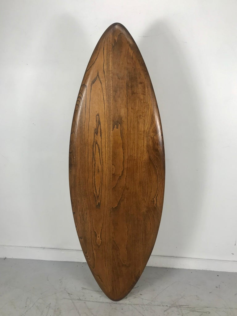 Modernist Oak and Aluminum Surfboard Coffee/Cocktail Table, John Keal Attributed For Sale 3