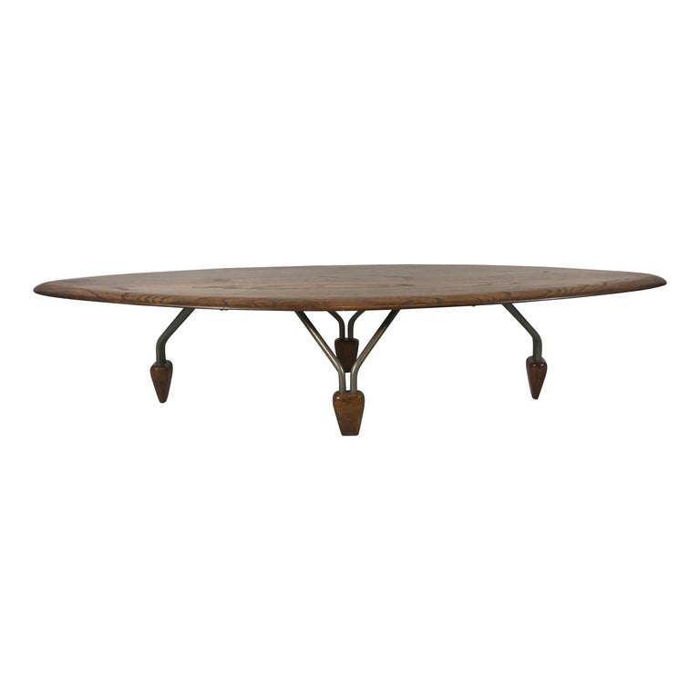 Modernist Oak and Aluminum Surfboard Coffee/Cocktail Table, John Keal Attributed For Sale