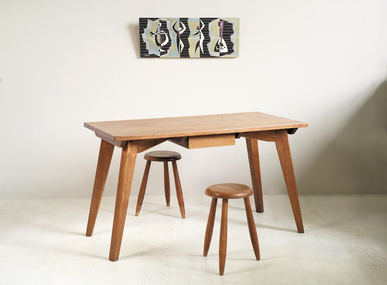 Modernist Oak Table, French Reconstruction, 1950 For Sale 4