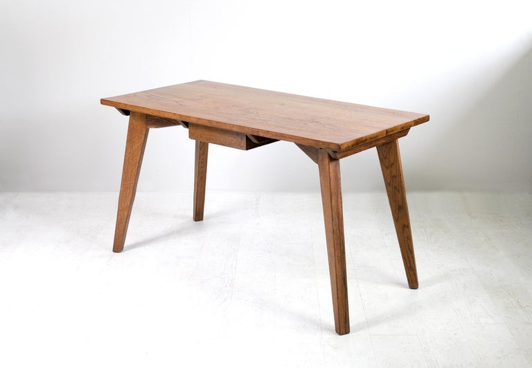 Mid-Century Modern Modernist Oak Table, French Reconstruction, 1950 For Sale