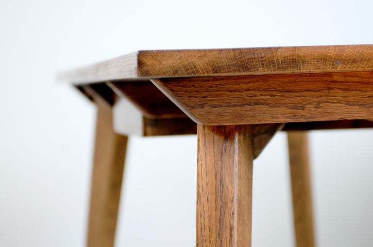 Oiled Modernist Oak Table, French Reconstruction, 1950 For Sale
