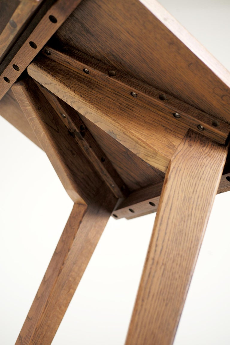 Mid-20th Century Modernist Oak Table, French Reconstruction, 1950 For Sale