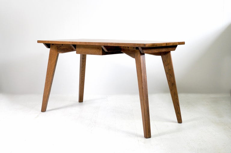Modernist Oak Table, French Reconstruction, 1950 For Sale 2