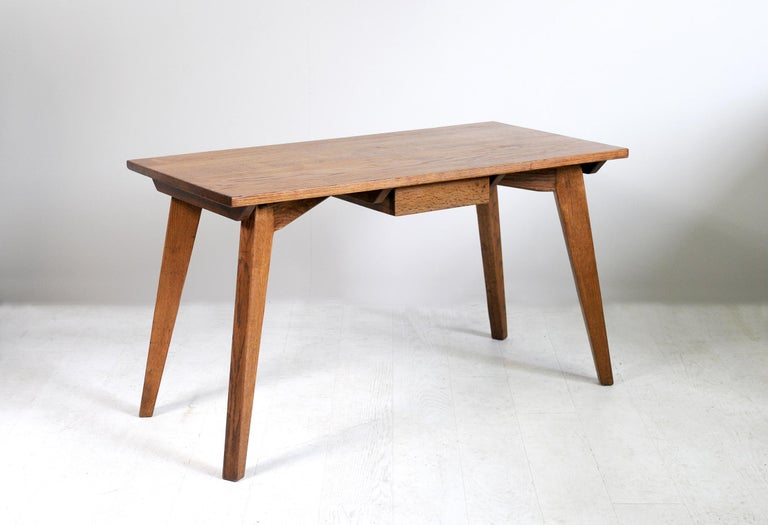 Modernist Oak Table, French Reconstruction, 1950 For Sale 3