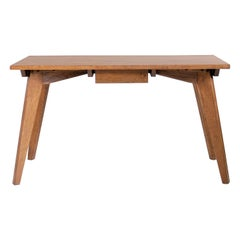 Modernist Oak Table, French Reconstruction, 1950