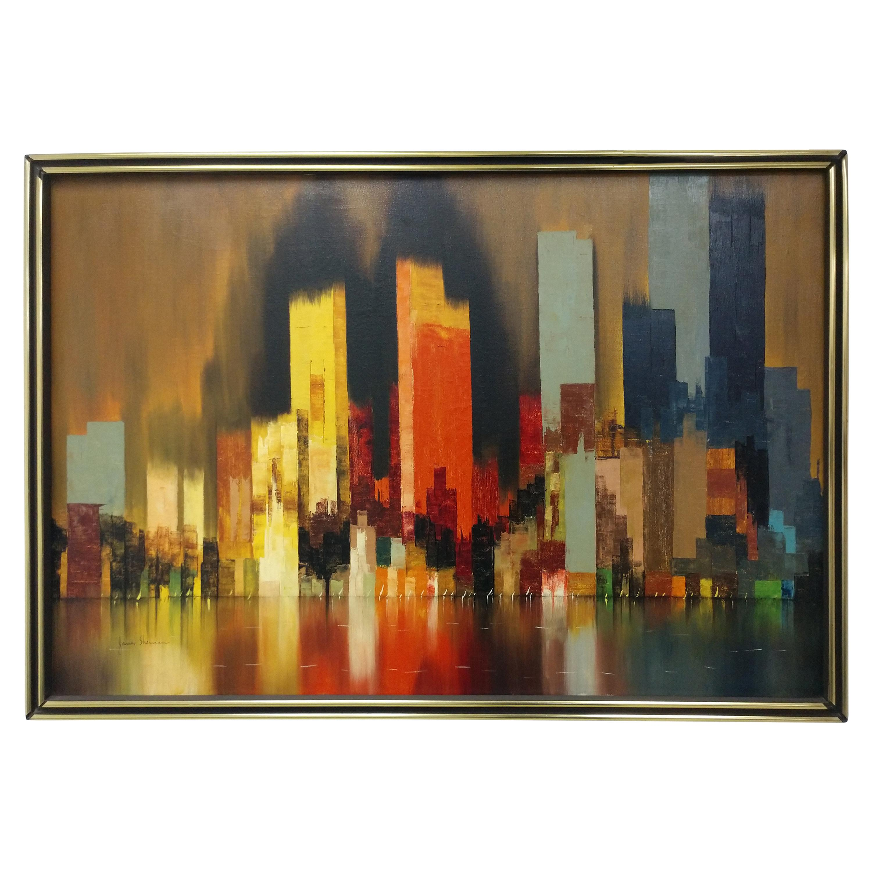 Modernist Oil on Canvas Abstract View of Chicago by James Sherman, C 1965