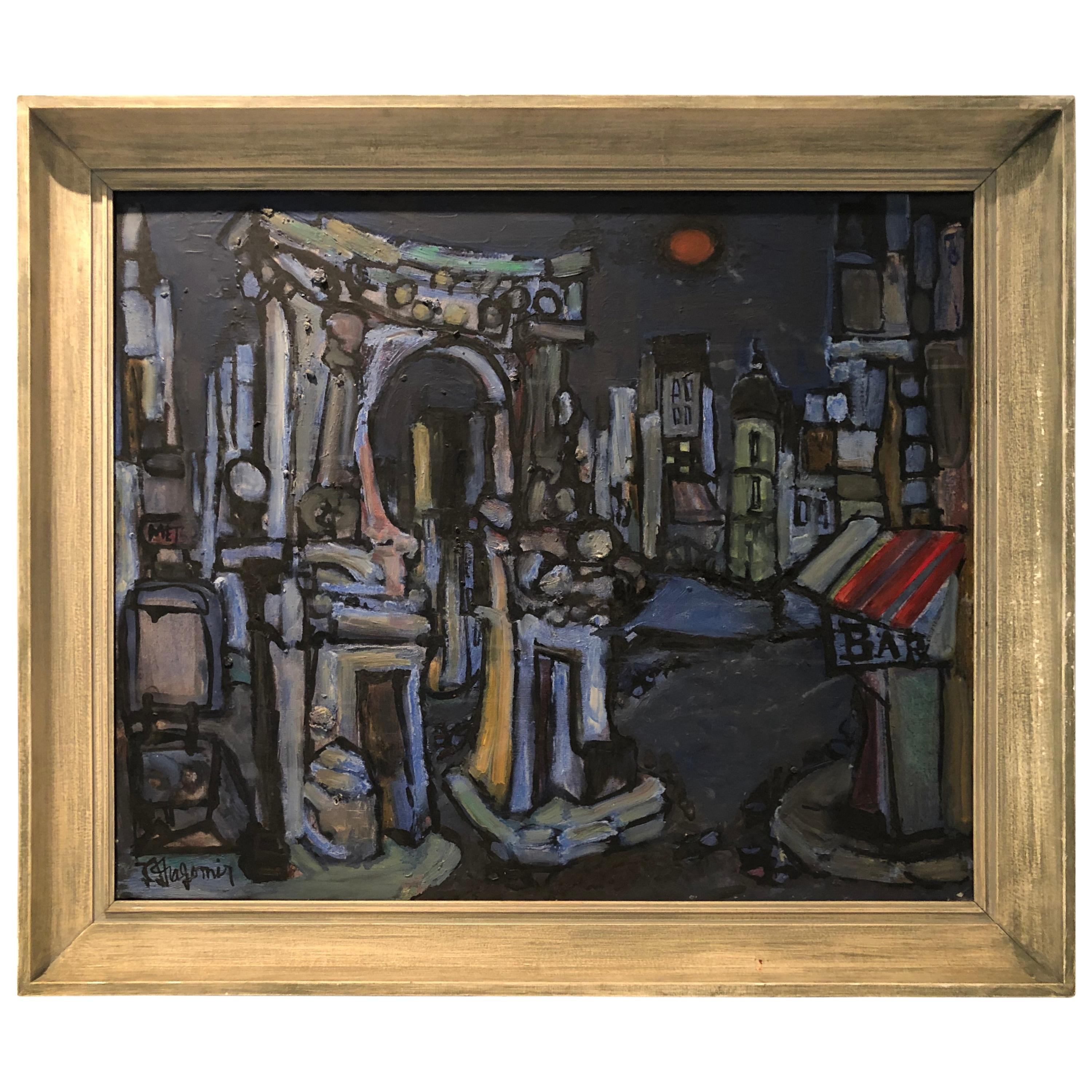 Modernist Oil on Canvas of Paris by Listed Artist Jean-Claude Dragomir