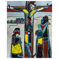 Modernist Oil on Canvas of the Crucifixion