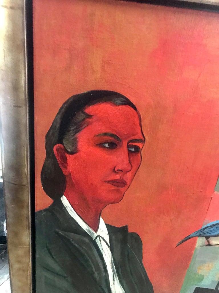 Modernist oil on canvas painting by Martha Visser't Hooft, self portrait