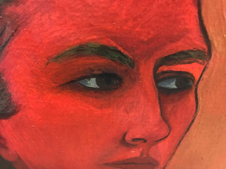 Hand-Painted Modernist Oil on Canvas Painting by Martha Visser't Hooft,Self Portrait, 1951 For Sale