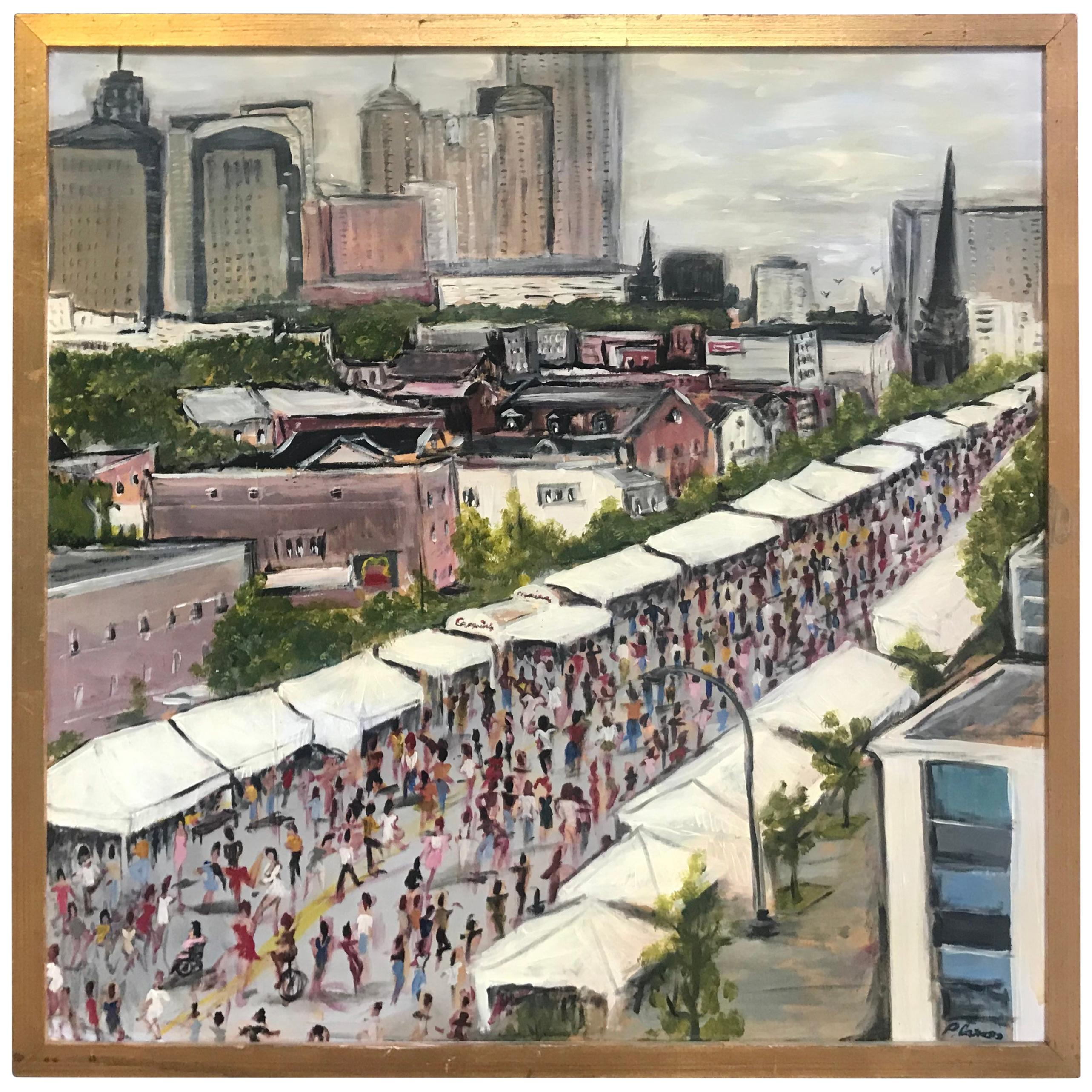 """Modernist Oil on Canvas Painting """"Queen City Festival"""" Peter Caruso, 2011"""