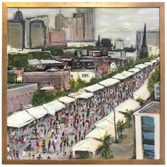 "Modernist Oil on Canvas Painting ""Queen City Festival"" Peter Caruso, 2011"
