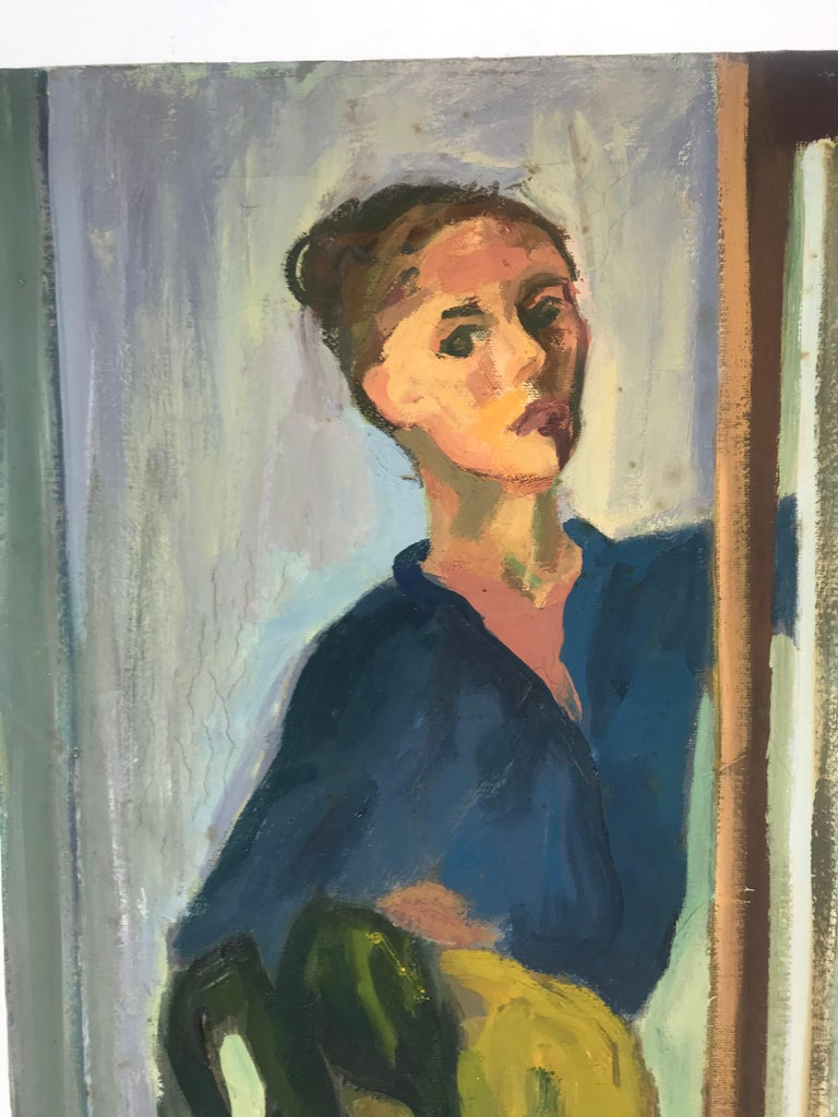 Wonderful modernist oil painting executed by Anita Kahn depicting stylish woman, excellent use of color, texture and space, signed on backside, 