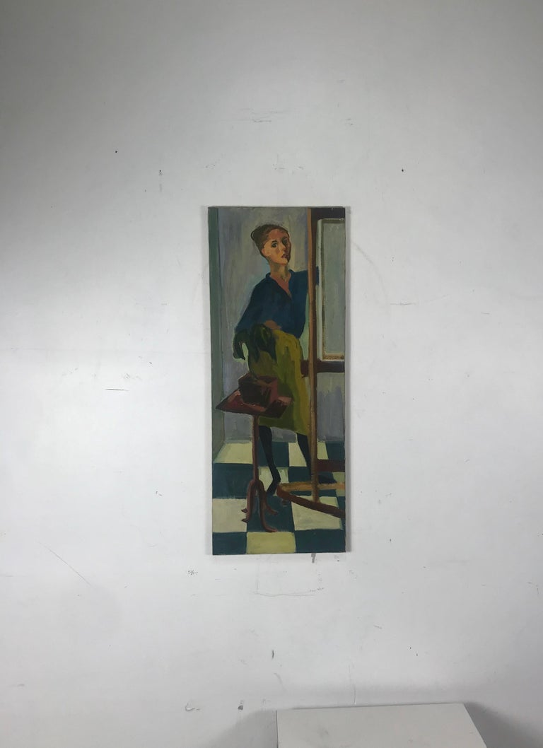 Modernist Oil Painting on Canvas by Anita Kahn, circa 1950s In Good Condition For Sale In Buffalo, NY