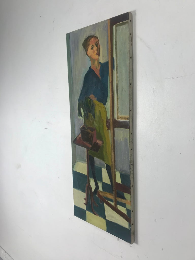 Mid-20th Century Modernist Oil Painting on Canvas by Anita Kahn, circa 1950s For Sale