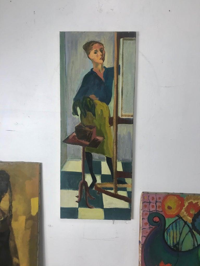 Modernist Oil Painting on Canvas by Anita Kahn, circa 1950s For Sale 1