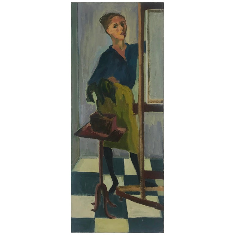 Modernist Oil Painting on Canvas by Anita Kahn, circa 1950s For Sale
