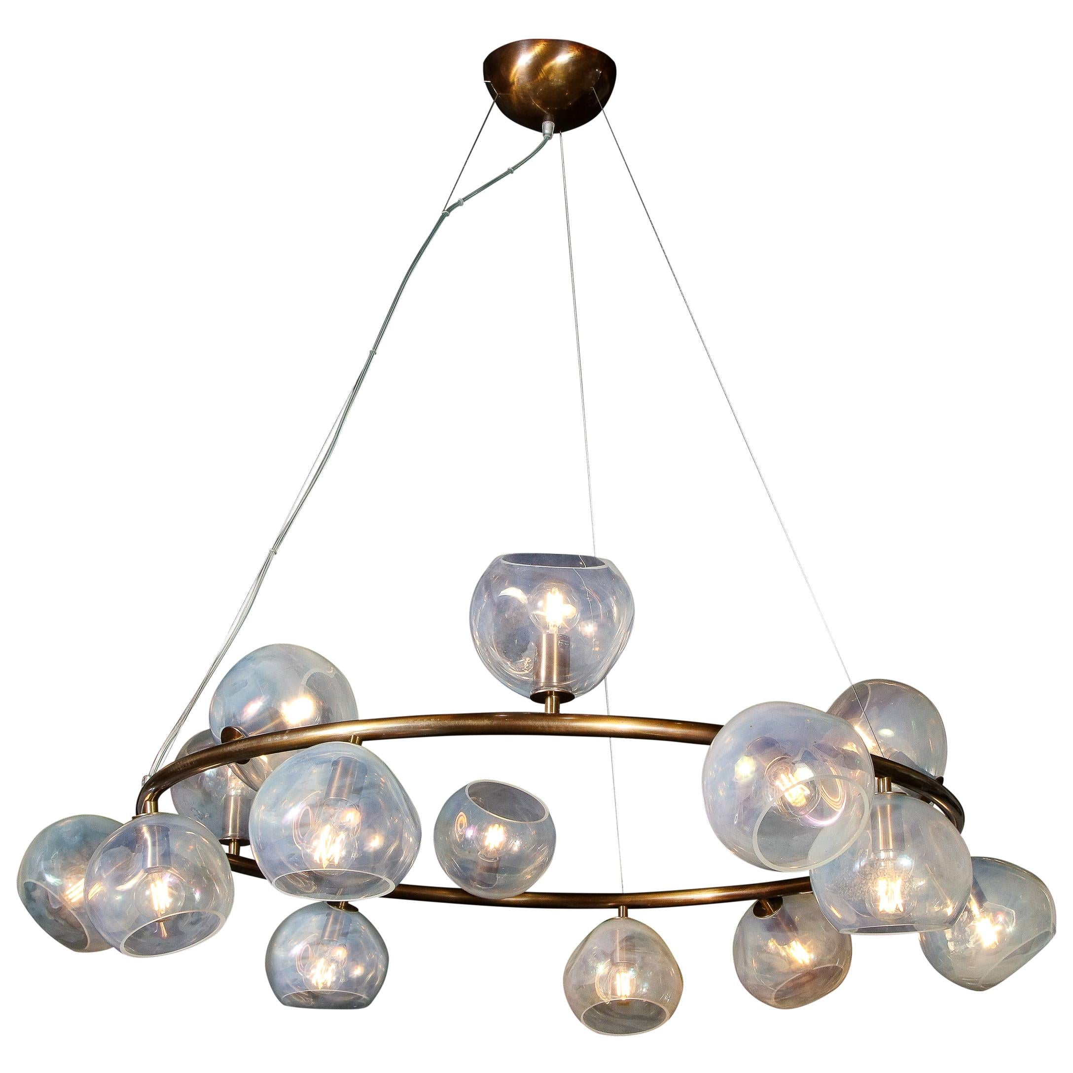 Modernist Oil Rubbed Bronze Chandelier with Organic Hand Blown Murano Shades