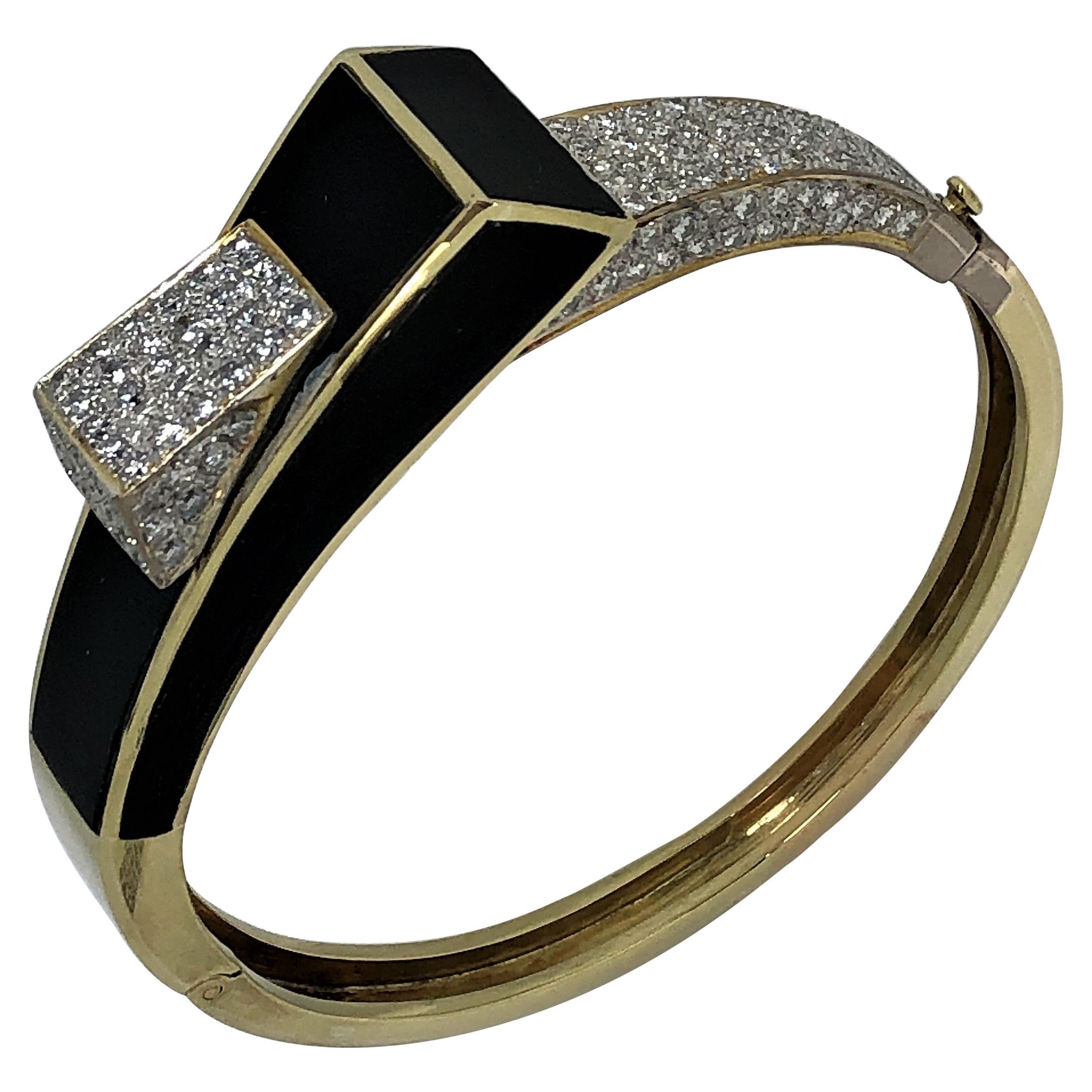 Modernist Onyx Gold and Diamond Bangle/Cuff
